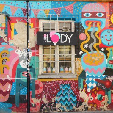 Kleurrijke muur Krakau