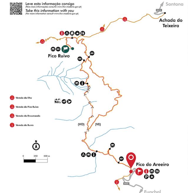 Wandelroute Pico do Areeiro naar Pico Ruivo