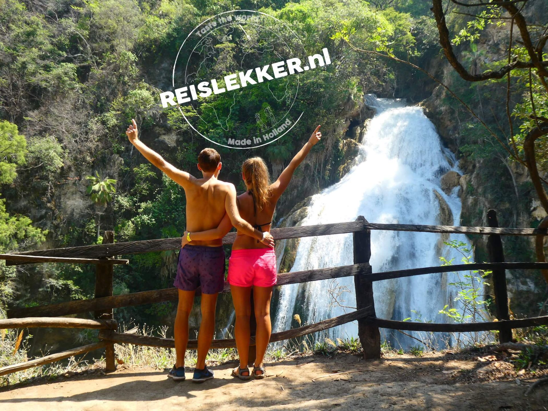 Gieljan en Annick Waterval El Chiflon Mexico